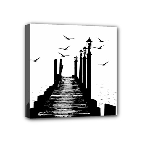 The Pier The Seagulls Sea Graphics Mini Canvas 4  X 4  by Amaryn4rt
