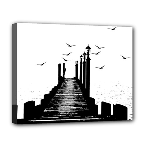 The Pier The Seagulls Sea Graphics Deluxe Canvas 20  X 16