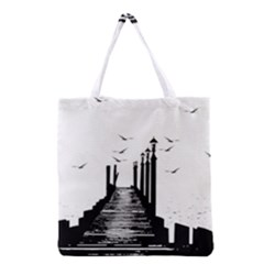 The Pier The Seagulls Sea Graphics Grocery Tote Bag by Amaryn4rt