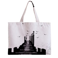 The Pier The Seagulls Sea Graphics Zipper Mini Tote Bag by Amaryn4rt