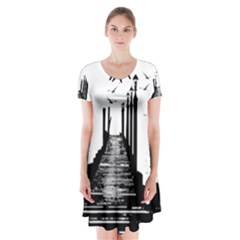 The Pier The Seagulls Sea Graphics Short Sleeve V Neck Flare Dress by Amaryn4rt