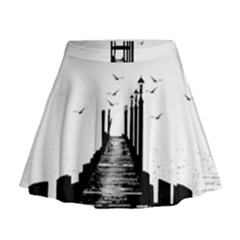 The Pier The Seagulls Sea Graphics Mini Flare Skirt by Amaryn4rt