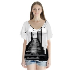 The Pier The Seagulls Sea Graphics Flutter Sleeve Top by Amaryn4rt