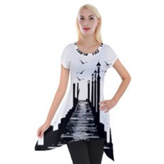 The Pier The Seagulls Sea Graphics Short Sleeve Side Drop Tunic by Amaryn4rt