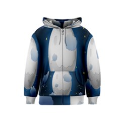Blue Sky Cloud Star Moon Kids  Zipper Hoodie