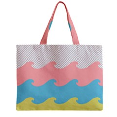 Wave Waves Pink Yellow Blue Zipper Mini Tote Bag by Jojostore