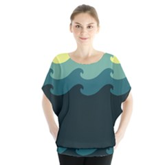 Chevron Wave Water Sea Blue Yellow Blouse