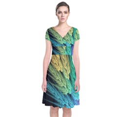 Abstract Fractal Short Sleeve Front Wrap Dress