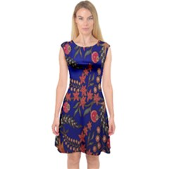Batik Fabric Capsleeve Midi Dress