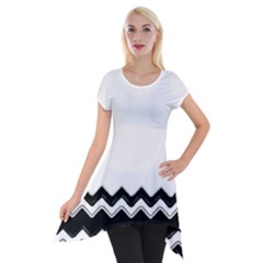 Chevrons Black Pattern Background Short Sleeve Side Drop Tunic