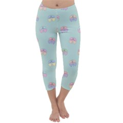 Butterfly Pastel Insect Green Capri Winter Leggings  by Nexatart