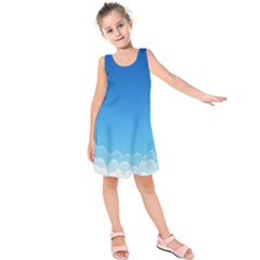 Clouds Illustration Kids  Sleeveless Dress