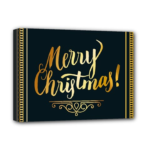 Christmas Gold Black Frame Noble Deluxe Canvas 16  X 12   by Nexatart