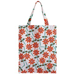 Clipart Floral Seamless Flower Leaf Zipper Classic Tote Bag