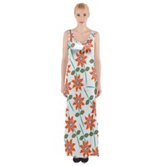 Clipart Floral Seamless Flower Leaf Maxi Thigh Split Dress by Jojostore