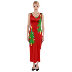 Christmas Trees Fitted Maxi Dress by Nexatart