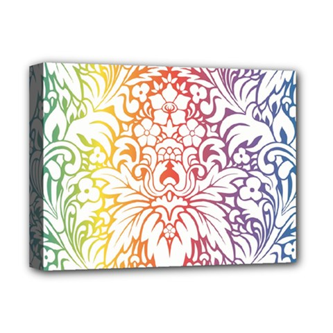 Cool Flower Rainbow Blue Purple Red Orange Yellow Green Deluxe Canvas 16  X 12   by Jojostore
