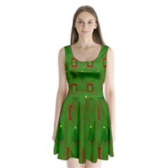 Christmas Trees And Boxes Background Split Back Mini Dress  by Nexatart