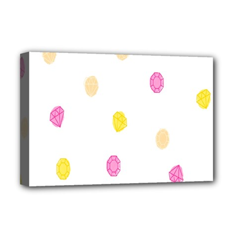 Diamond Pink Yellow Deluxe Canvas 18  X 12   by Jojostore