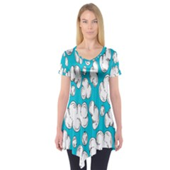 Clouds Seamless Blue Sky Short Sleeve Tunic