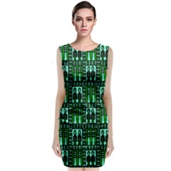 Egyptianpattern Colour Green Sleeveless Velvet Midi Dress by Jojostore