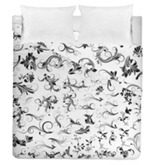 Flower Floral Black Leaf Duvet Cover Double Side (queen Size) by Jojostore