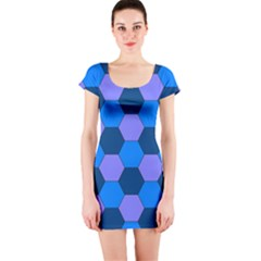 Four Colour Theorem Blue Grey Short Sleeve Bodycon Dress by Jojostore