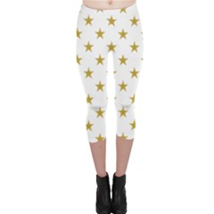 Gold Stars Capri Leggings  by Jojostore