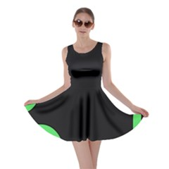 Green Rings Black Skater Dress