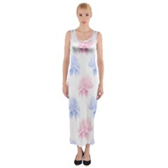 Flower Blue Pink Fitted Maxi Dress