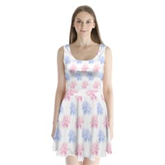Flower Blue Pink Split Back Mini Dress  by Jojostore
