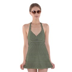 Hexagon Green Halter Swimsuit Dress