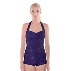 Purple Abstract Spiral Boyleg Halter Swimsuit