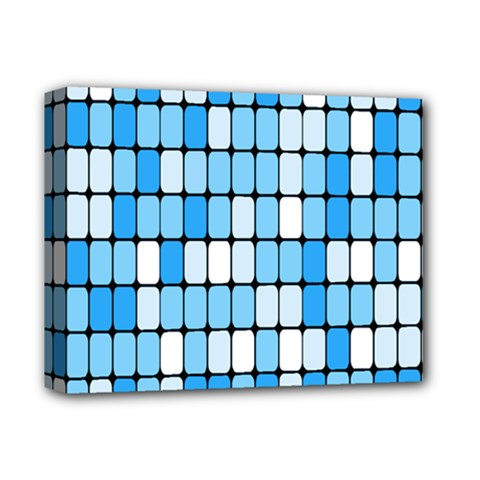 Ronded Square Plaid Blue Deluxe Canvas 14  X 11  by Jojostore