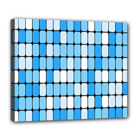 Ronded Square Plaid Blue Deluxe Canvas 24  X 20