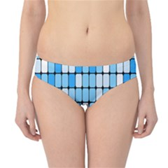 Ronded Square Plaid Blue Hipster Bikini Bottoms by Jojostore