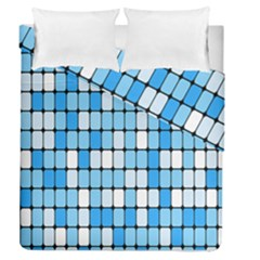 Ronded Square Plaid Blue Duvet Cover Double Side (queen Size)