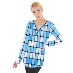 Ronded Square Plaid Blue Women s Tie Up Tee