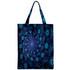 Illusion Spiral Rotation Shape Purple Flower Zipper Classic Tote Bag