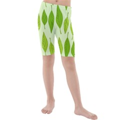 Spring Leaf Green Kids  Mid Length Swim Shorts by Jojostore