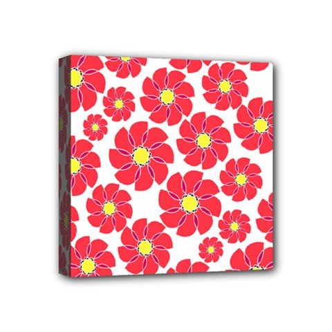 Seamless Floral Flower Red Fan Red Rose Mini Canvas 4  X 4