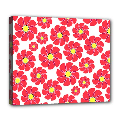 Seamless Floral Flower Red Fan Red Rose Deluxe Canvas 24  X 20   by Jojostore