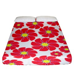 Seamless Floral Flower Red Fan Red Rose Fitted Sheet (king Size)