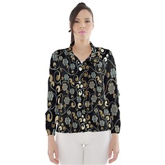 Clipart Chromatic Floral Gold Flower Wind Breaker (women)