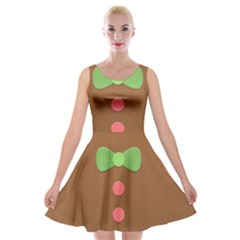 Stunning Gingerbread Brown Bread Velvet Skater Dress by Jojostore