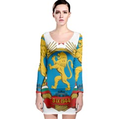 Coat Of Arms Of Bulgaria (1948-1968) Long Sleeve Bodycon Dress by abbeyz71