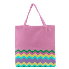Easter Chevron Pattern Stripes Grocery Tote Bag by Nexatart