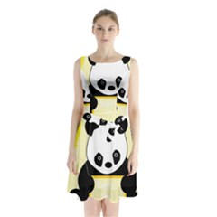 First Birthday Panda Card Sleeveless Chiffon Waist Tie Dress