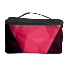 Geometric Triangle Pink Cosmetic Storage Case by Nexatart
