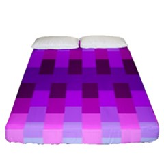 Geometric Cubes Pink Purple Blue Fitted Sheet (queen Size) by Nexatart